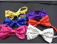 Wholesale New New Mens and women Pure color Bowtie Polyester silk Tied sequin solid necktie bow ties cwh001