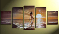 Cheap Handmade Nude Girl Naked Woman Ocean Beach Waves Sunset Seascape Oil Painting On Canvas Modern Wall Art Abstract Decor Picture