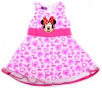 Wholesale Infant Baby Girls Cartoon Summer Clothing Minnie Mouse Clothing Girl Sleeveless Party Dresses TUTU Fashion Cute Floral Kids Dress Festivals