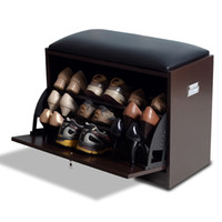 shoe cabinet - Wood Shoe Cabinet Shoe Rack with Seat Living Room Storage Chest Wood Ottoman Brown Color Stock in US