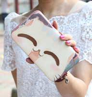 big button hand phone - Lady Handbag Series Lovely big face cat hand painted bag carry mobile phone bag lunch box package lady handbag long wallet