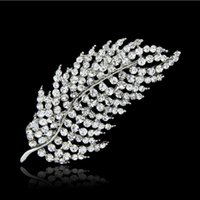 brooch rhinestone - Beautiful Wedding Bridal Feather Rhinestone Brooches Brooch Party Wear Pins C1479