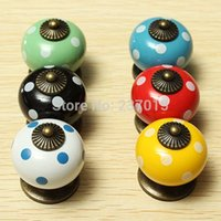 Wholesale 5pcs Vintage Dot Round Ceramics Drawer Knob Cabinet Pull Handle Cupboard Bedroom Door