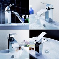 Wholesale LS4G New Deck Mounted Chrome Finish Brass Waterfall Bathroom Kitchen Sink Faucet