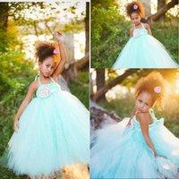 Wholesale Mint Green Flower Girl Dresses Tutu Dresses with Flower Sash Beautiful Little Kids Birthday Party Dresses