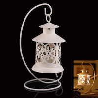 Wholesale Iron Moroccan Style Candlestick Candleholder Candle Stand Lantern White NVIE order lt no track
