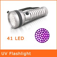Wholesale 41 LED Blacklight UV Flashlight NM Aluminum Ultra Violet Torch Anti counterfeiting Money Detector Waterproof Flashligh UVSDT0009
