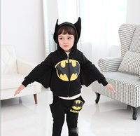 batman sweaters - 2015 New Children s clothing Spring Autumn Batman modeling cotton Hoodie pants piece cartoon Batman suits kids sweater clothing C001