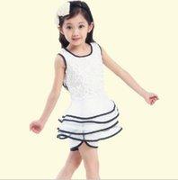 Wholesale 2014 New Children Clothing Set for Summer Korean Lace Solid Sleeveless Cake Skirt Short Pants