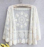 beige crochet cardigan - New Cover Ups Fashion Womens Retro Vintage Jacket Cardigan Blouse Tops Crochet Sexy Lace Bikini Swimwear Beach T Shirts Free Ship
