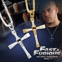 Wholesale Fashion Jewelry The Fast And Furious Dominic Toretto s Cross Pendant Necklace With Rhinestone Silver Plated Necklace