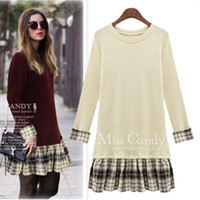 Wholesale New plaid pattern long sleeve patchwork long sleeve dresses plus size leisure casual dresses for women size XL to XL