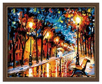 Cheap Modern Abstract Wall Painting Umbrella Girl in the Rain Home Decorative Art Picture Paint on Canvas Prints 40x50