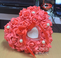 Wholesale White Pink Red Purple Blue Crystal Pearl Crystal Organza Lace Bearer Ring Pillow lover heart Rose flower Pillows Wedding Favors Box