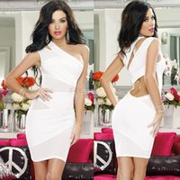 A-Line mini club dress - 2015 Women s Nightclub Bandage Dresses Sexy One Shoulder Cut Out Mesh Evening Gowns Party Dresses Clubwear Hot Selling