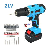 Wholesale 21v multi function cordless screwdriver electric drill tools battery and charger plastic box package