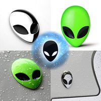 Personalized Sticker chrome green - 2015 New Arrival Gray Alien D Chrome Metal Auto Car Motorcycle Sticker Skull Badge Emblem Decals two color Green Silver