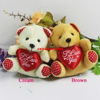 Wholesale 20 hot sale cm mini plush bear toys with heart beige brown cheap sutffed bear toys colors to choose t