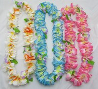 wreath supplies - colors Party Wedding Christmas Supplies Hawaiian Flower Lei Garland Wreath Artificial Necklace HH0001