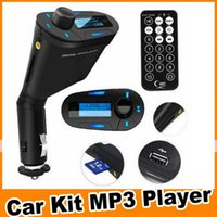 audio electronic kits - 2016 Blue red green electronics Car Kit MP3 Player Wireless FM Transmitter Modulator audio MMC remote control rty DHL OM CG3