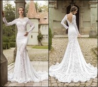 french lace - Distinctive Chapel Train Mermaid Wedding Dresses Bateau Neck Backless illusion Long Sleeve Sexy Vintage White French Lace Bridal Gowns
