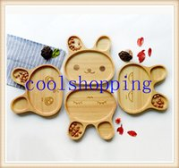 baby appetizers - DHL Freeshipping Cute Wood Child Compartment Plate Divided Tray Baby Cartoon Rabbit Appetizer Platter