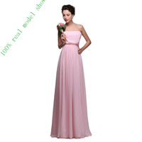 Wholesale 100 Real Images Long Hot Pink Bridesmaid Dresses For Woman Chiffon China Strapless Bridesmaid Evening Dress under