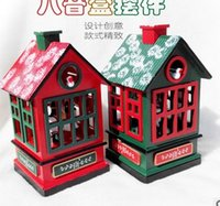 art supply house - 2016 new wooden house music box carousel gift set wooden crafts Christmas supplies