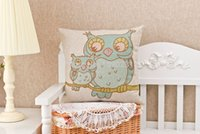 baby decor cribs - New x45cm Love Owl Family Printed Throw Pillow Covers mr ms Baby Owl Sofa Cushion Cover Square Pillow Cases Home Art Decor