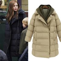 Wholesale Brand New Winter Womens Thicken Korean Cotton Blend Down Hooded Long Jacket Puffer Coat Parka Outwear Coat