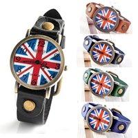 auto national - Vine Women National Flag Leather Bracelet with Quartz Watch Movement WristWatch