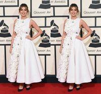 Wholesale White Satin Ruched Prom Dresses Ankle Length Petal Appliques Formal Celebrity Evening Dresses Custom Made Cheap Vestidos De Noiva Oscar