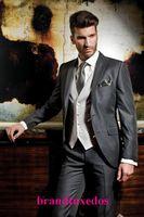 Wholesale 2014 Custom Made Groom Tuxedos Men Suits Wedding Suit for men Groomsman Suit Jacket Pants Tie Vest Bridegroom Suit