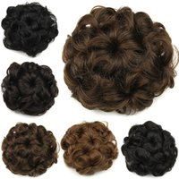 hair bun piece - 1PC g Fake Hair Bun Drawstring Flower Hair Pad Black Brown Blonde Hepburn Bun Hair Pieces