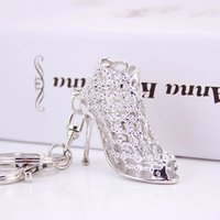 Wholesale Trinket hollow Rhinestone novelty items high heeled shoes Keychain charm Purse Key Chain women decoration present key holder