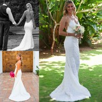 Cheap Spaghetti Lace Mermaid Wedding Dresses 2015 Spring Summer Sexy Backless Court Train White Ivory Grecian Goddess Boho Chic Bridal Gowns Hot