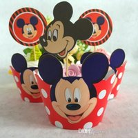Wholesale Mickey Party Decorations Event Cupcake Wrappers Superman Captain America CupCake Toppers Picks Kids Birthday Supplies Party