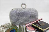 genuine diamond ring - Luxury Silver Gold Black Bridal Clutches Fashion Ring Evening Bags Shining Rhinestone Clutch Bags Party Wedding Chain Purse