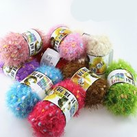 knitting fur scarf - 50g A Ball of Wool Scarf Colorful Pearl Velvet Fur Fabric Yarn Wave Yarn Sweater Scarf Hat Hand Material Knitting Process