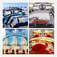 beach pillow shams - 3d queen bedding sets holiday travelling bus Eiffel Tower beach bed duvet cover flat sheet pillow shams pieces No comforter