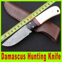 Wholesale 201409 High quality inch Damascus hunting knife Ebony white horn handle Camping Hunting Rescue Knife Knives Best Christmas gift A318X