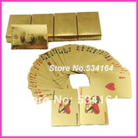 Wholesale GOLD FOIL PLATED PLAYING CARDS US DOLLAR STYLE PLASTIC POKER DECKS GOOD PRICE