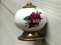 antique dresser hardware - Purple Rose Dresser Knob Drawer Knobs Kitchen Cabinet Knobs Rustic Antique Bronze Door Handle Pull Ceramic Knobs Hardware
