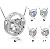 Wholesale High quality silver plated crystal heart Rhinestone pendant necklace women jewelry y015