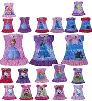 Wholesale IN HAND Frozen Princesses Elsa Anna Dora Doc McStuffins Olaf Sofia Tinkerbell party night home dress Children clothes