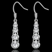 Wholesale E574 High Quality Low Price Silver Clear Zircon CZ Diamond Fashion Jewelry Dangle Earrings Ear Studs Drop