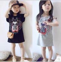 american head dress - 2016 Korean Children Clothing Tiger Head Girl Short Sleeve Dressy Girls Summer Dresses Kids tassel Princess Dress Grey Black K6445