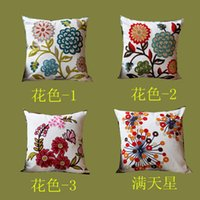 Wholesale 2015 hot Novelty flower embroidered Cushion Cover linen Sofa Bedding Office Throw Pillow Case Home Decoration x45cm