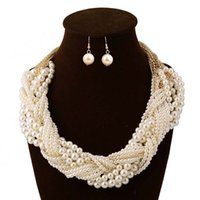 Wholesale Newest african beads jewelry set nigerian wedding african beads indian multi layer necklace Earrings women