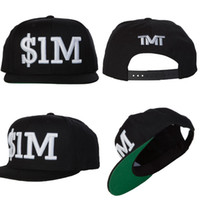 Wholesale 2015 New Arrivals TMT Snapbacks Black White M TMT Embroidered Canvas Cotton Courtside Hats Adjustable Baseball Colors Caps Mix Order